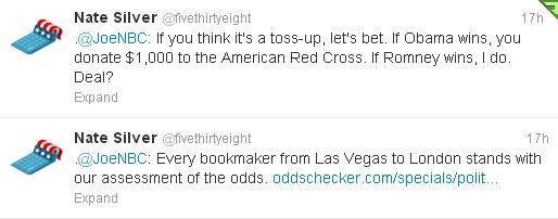 Nate Silver tweets to Joe Scarborough